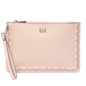 Michael Kors Scalloped Leather Clutch NWT Pink